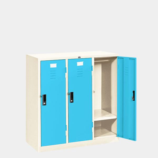 ตู้ล็อคเกอร์เตี้ย-3-ประตู-รุ่น-LK-T3-สีฟ้า