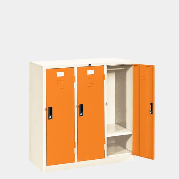 ตู้ล็อคเกอร์เตี้ย-3-ประตู-รุ่น-LK-T3-สีส้ม
