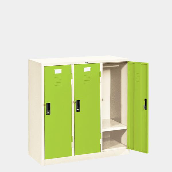 ตู้ล็อคเกอร์เตี้ย-3-ประตู-รุ่น-LK-T3-สีเขียว