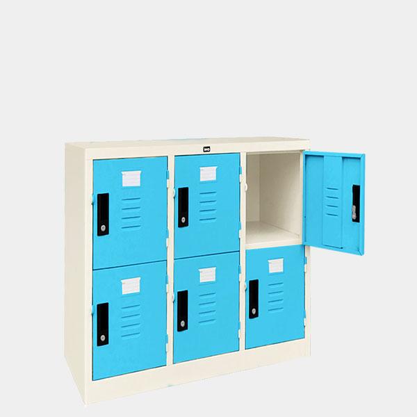 ตู้ล็อคเกอร์เตี้ย-6-ประตุ-รุ่น-LK-T6-สีฟ้า
