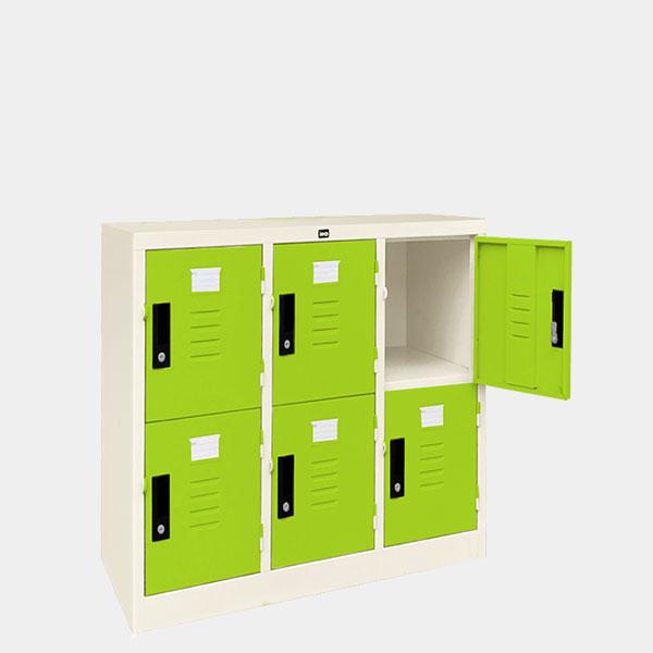 ตู้ล็อคเกอร์เตี้ย-6-ประตุ-รุ่น-LK-T6-สีเขียว