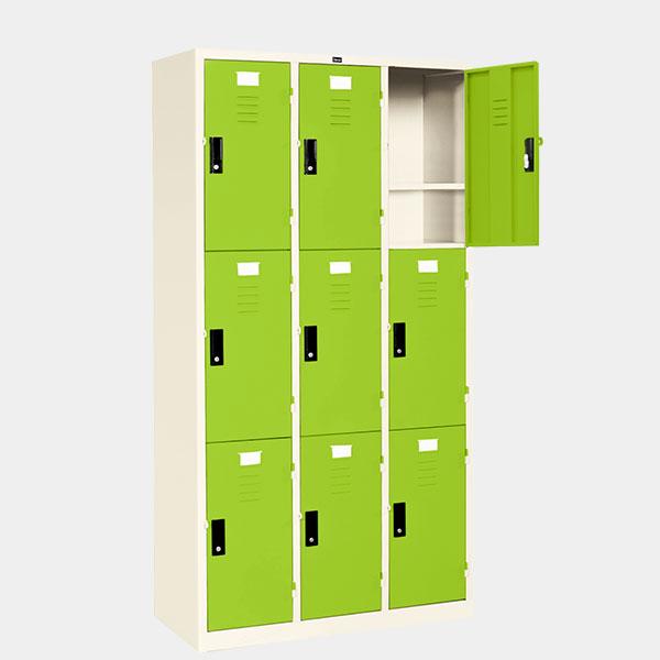 ตู้ล็อคเกอร์-9-ประตู-รุ่น-LK-9-สีเขียว