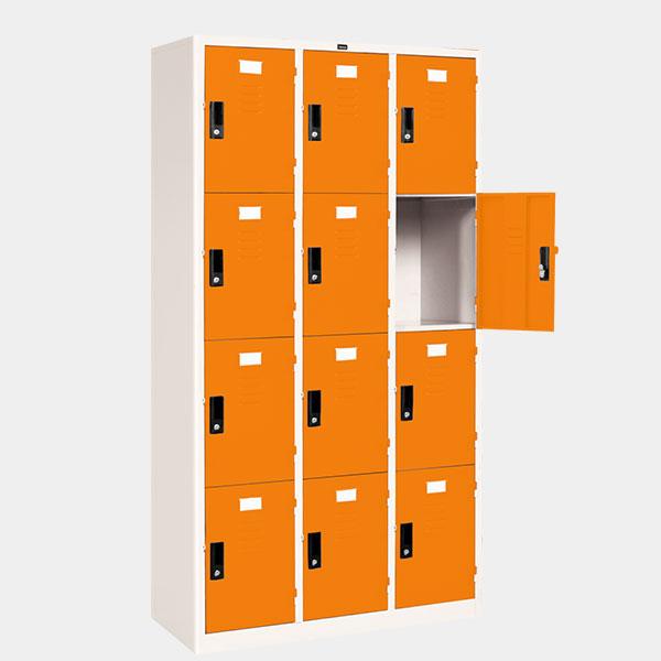 ตู้ล็อคเกอร์ 12 ประตู รุ่น LK-12 สีส้ม