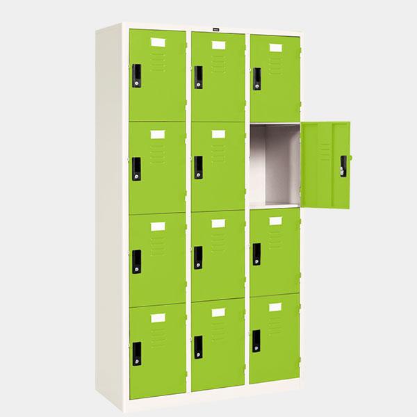 ตู้ล็อคเกอร์ 12 ประตู รุ่น LK-12 สีเขียว