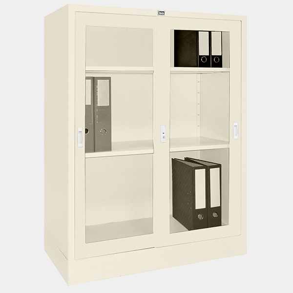 ตู้บานเลื่อนกระจก รุ่น LK-C3 สีขาวมุก