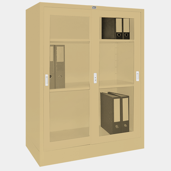 ตู้บานเลื่อนกระจก รุ่น LK-C3 สีครีม