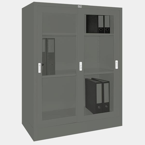 ตู้บานเลื่อนกระจก รุ่น LK-C3 สีเทาราชการ