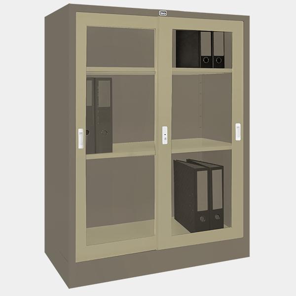 ตู้บานเลื่อนกระจก รุ่น LK-C3 สีเทาสลับ