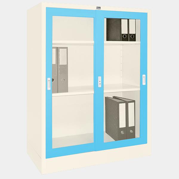 ตู้บานเลื่อนกระจก รุ่น LK-C3 สีฟ้า