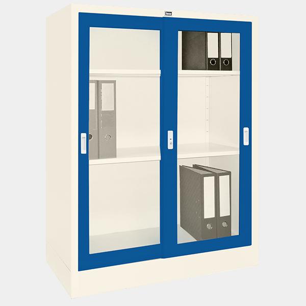 ตู้บานเลื่อนกระจก รุ่น LK-C3 สีน้ำเงิน