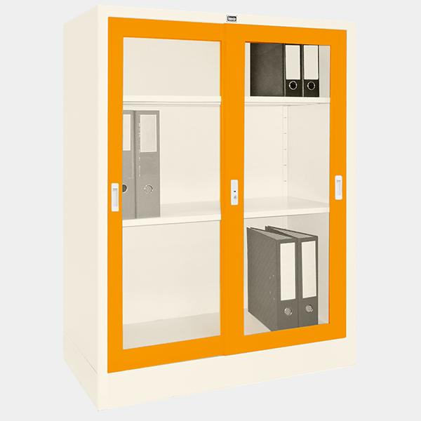 ตู้บานเลื่อนกระจก รุ่น LK-C3 สีส้ม