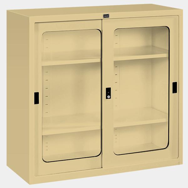 ตู้บานเลื่อนกระจก 3 ฟุต รุ่น SLG-3 สีครีม