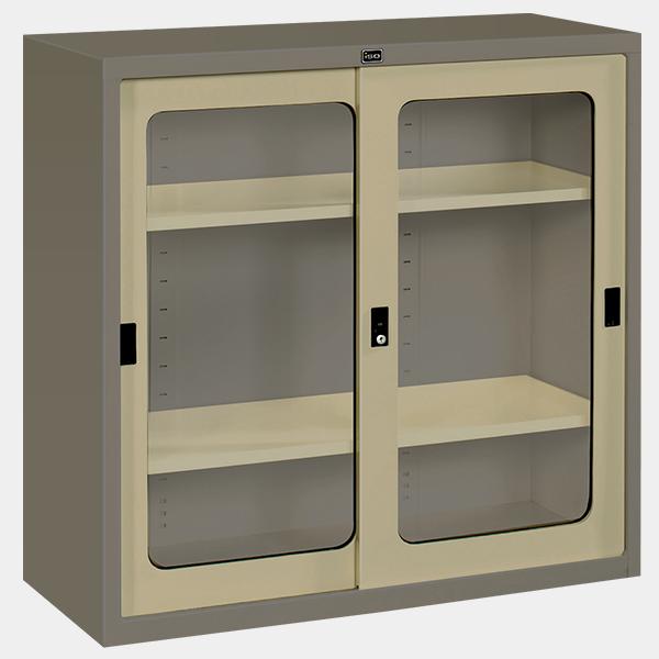 ตู้บานเลื่อนกระจก 3 ฟุต รุ่น SLG-3 สีเทาสลับ