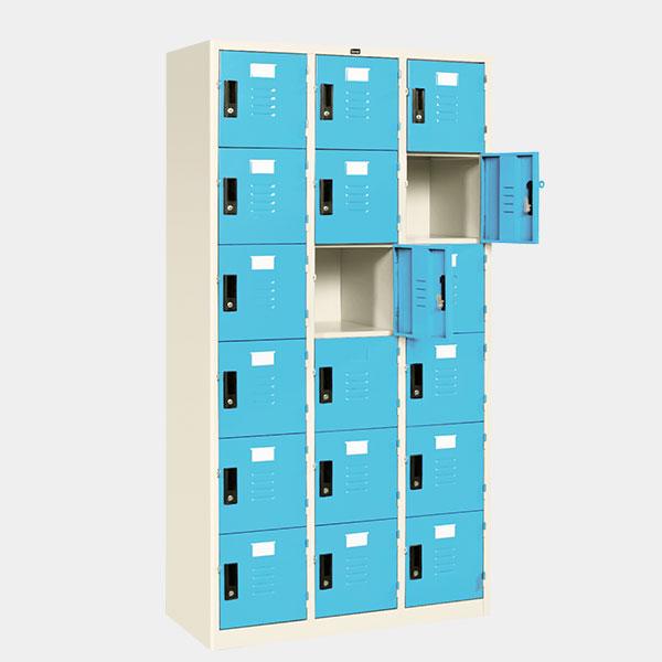 ตู้ล็อคเกอร์ 18 ประตู รุ่น LK-18 สีฟ้า