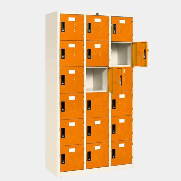 ตู้ล็อคเกอร์ 18 ประตู รุ่น LK-18 สีส้ม