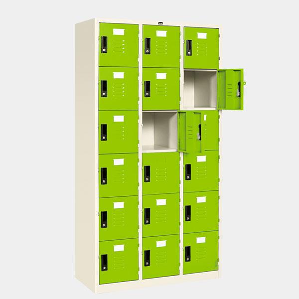 ตู้ล็อคเกอร์ 18 ประตู รุ่น LK-18 สีเขียว
