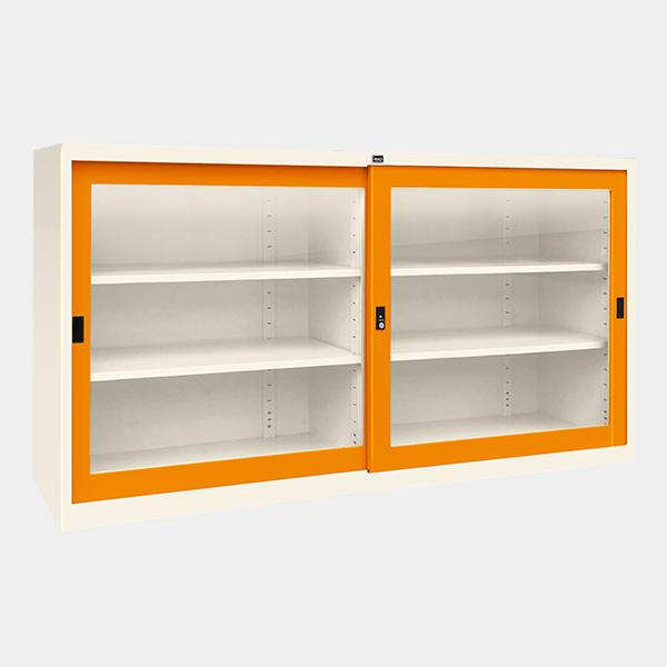 ตู้บานเลื่อนกระจก 5 ฟุต รุ่น SLG-5 สีส้ม
