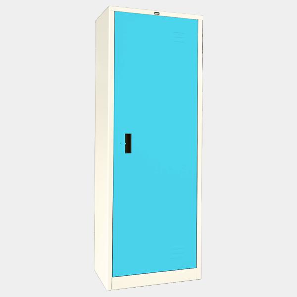 ตู้เสื้อผ้าเหล็ก บานเดี่ยว ทึบ รุ่น WO-D504 สีฟ้า