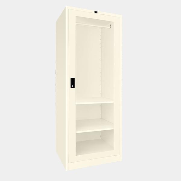 ตู้เสื้อผ้าเหล็ก บานเดี่ยว กระจกใส รุ่น WO-G601 สีขาวมุก