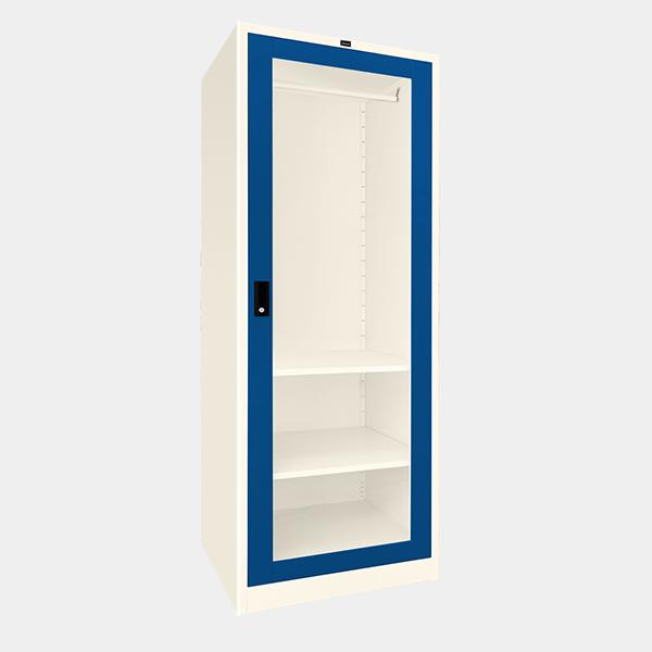 ตู้เสื้อผ้าเหล็ก บานเดี่ยว กระจกใส รุ่น WO-G601 สีน้ำเงิน