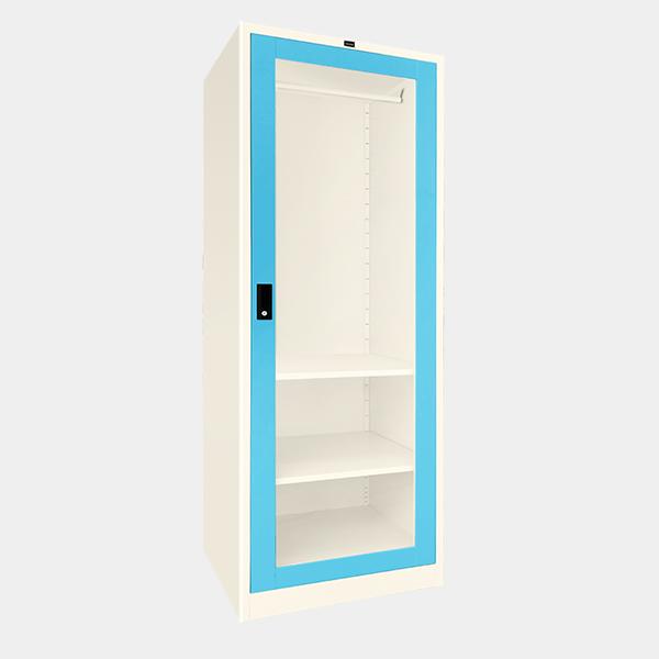 ตู้เสื้อผ้าเหล็ก บานเดี่ยว กระจกใส รุ่น WO-G601 สีฟ้า
