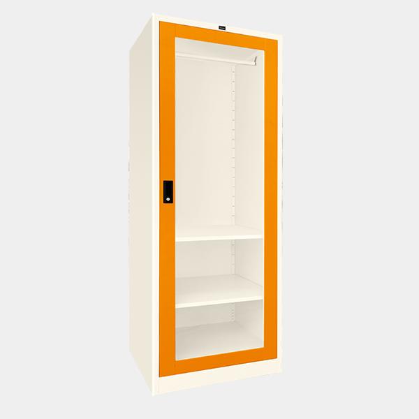 ตู้เสื้อผ้าเหล็ก บานเดี่ยว กระจกใส รุ่น WO-G601 สีส้ม