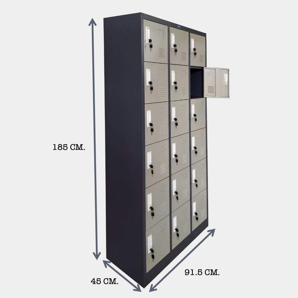 ขนาด ตู้ล็อคเกอร์ 18 ช่อง CLK-18 with size